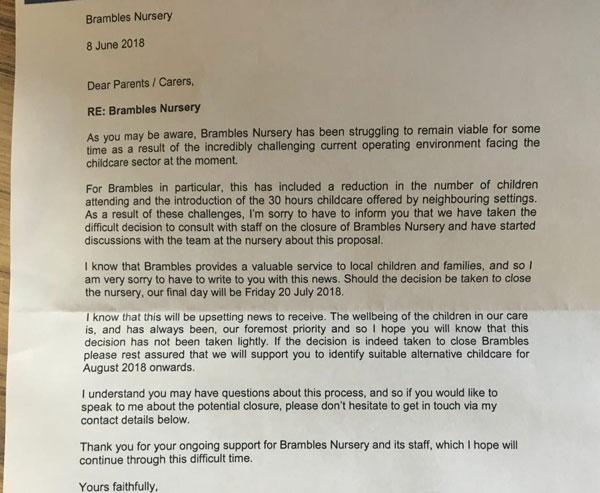 Brambles Nursery to Close » Reydon Village Website